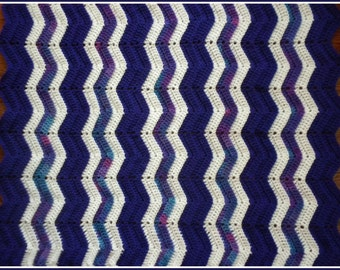 Handmade Crochet Grape Purple, White, and Variegated Blue, Purple and Violet Baby Blanket