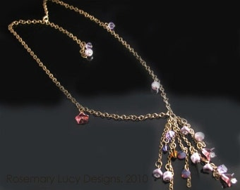 Purple Vintage brass twinkle necklace with chech glass and Swarovski Crystals jewelry women