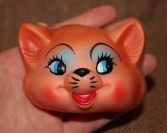 Vintage Plastic Puppet Head- Hand Painted Face- Great Condition- Art- Kitsch- Make your own Doll