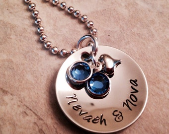 Hand stamped personalized necklace mom grandma with Swarovski crystals and heart charm