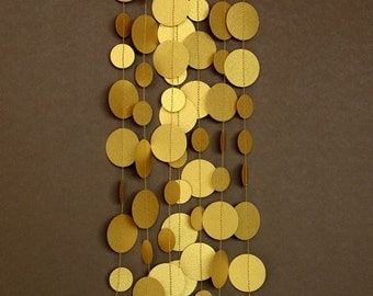 Gold decor, Gold wedding decor, Gold decorations, Gold wedding garland, Gold garland, gold party decor, Paper garland, PCG-5308