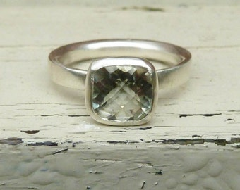Green amethyst engagement ring, silver green amethyst ring