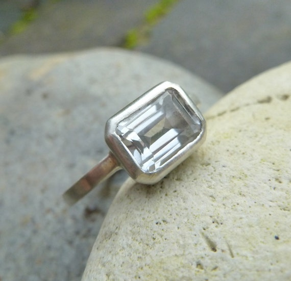 emerald cut white topaz sterling ring white by