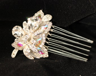 Rhinestone and Iridescent Bridal Comb/Wedding/Bride/Hair Comb