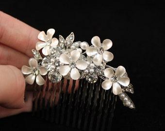 Flower with Rhinestone Hair Clip, Wedding, Flower Girl, Hair Piece
