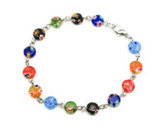 Flower beaded bracelet, flower bracelet, flower beads, multi colored bracelet, beaded bracelet, multi color jewelry, asian bracelet, gift
