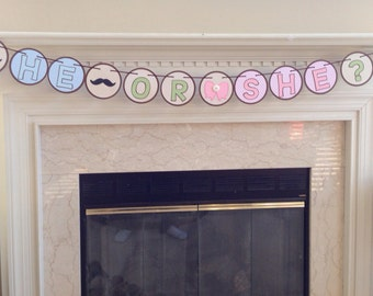 He or She Gender Reveal Banner, Beau or Bow Gender Reveal Banner, Mustache and Bow Gender Reveal Banner