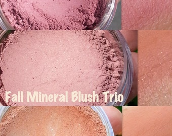 FALL BLUSH TRIO- Mineral Blushes- All Natural, Vegan Friendly Cosmetics- Get all 3 for a discount!