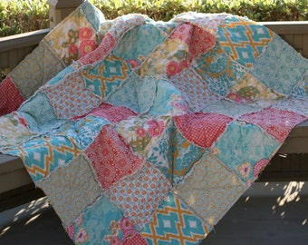 Crib Toddler Throw Twin Full Queen King Rag Quilt, Botanique, You Choose Size, ALL NATURAL, handmade bedding, Coral, teal, apricot and aqua