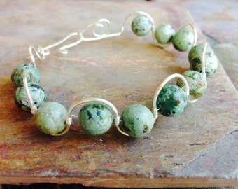 Green Turquoise & Silver Bracelet, Wire Wrapped