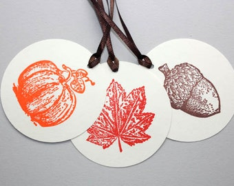 6 Thanksgiving Gift Tags, Fall Tags, Thanksgiving Favor Tags, Pumpkin Tags, Maple Leaf Tags, Fall Theme Baby Shower, Party