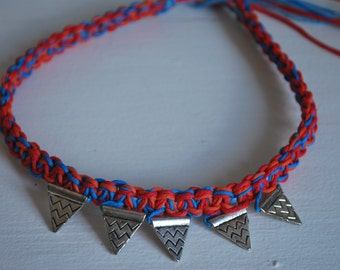 Silver Flag Pendant Charms on Bright Blue, Red, and Orange Hemp Necklace