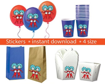 Instand DL - Thing 1 Thing 2 Stickers PARTY FAVORS Printable Labels for Balloons, Treat bags, cups and Boxes
