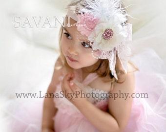 PINK & WHITE flower girl, shabby chic  flowers headband, newborn head band, headbands,flowergirls headbands,photo props outfit,hair bow