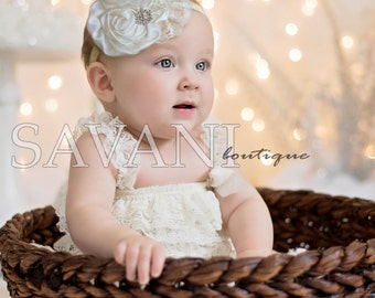 Baby girl lace romper, 2 pieces ivory  Petti Romper Set. Lace Petti Romper , headband and romper, Baby Girl Photo Prop