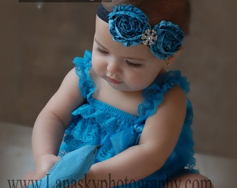 2 pieces teal  Petti Romper Set. Lace Petti Romper , headband and romper (outfit ) , Baby Girl Photo Prop