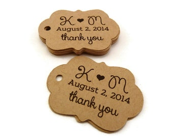 Personalized Tag - Custom Wedding Favor Tags - Wedding Tag - 40 Count - 1.75 x 1.25 in. - Kraft Tags - Thank You Tags - Favor Tag