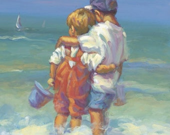 ALMOST SUMMER   two boys paddling in the surf canvas giclee  signed by artist Lucelle Raad