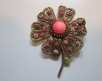 ART Flower Brooch. Pink And Bronze Tone Flower With Small Pink And Purple Flower Accents. Vintage Fashion Jewelry.