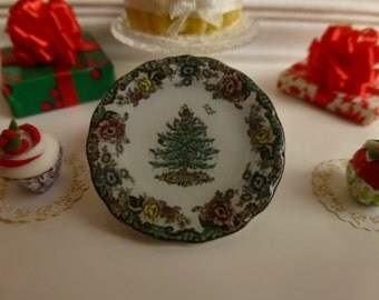 Christmas Tree Grove Plate for Dollhouse