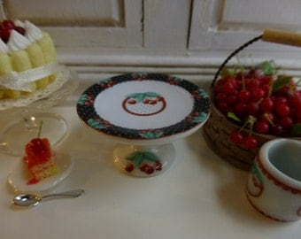 Cherries Porcelain Cake Stand for Dollhouse