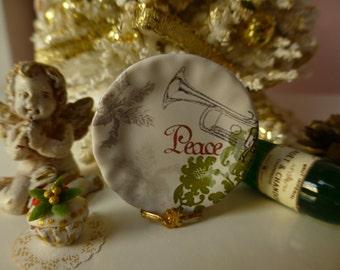 Christmas Peace Plate for Dollhouse