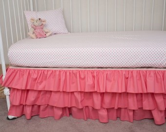 Pristine in  Pink Bumperless Baby Girl Crib Bedding in Pink Coral and Polka Dots fabric
