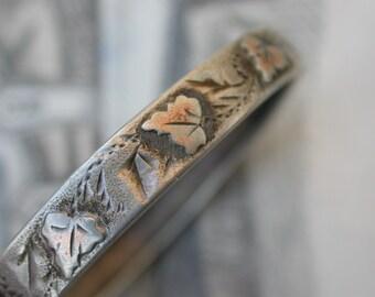 French antique sterling silver bangle bracelet stamped leaf grape engraved baby bracelet child bracelet stamped sterling chain