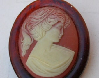 vintage resin cameo brooch  noble portrait woman signed French jewelry Oval cameo large brooch