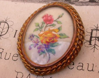 Magnificent french large  hand painted oil painting miniature signed rose pink blue yellow flower gilt bronze frame bombe glass brooch