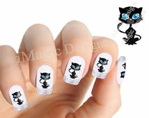 Waterslide Nail Decals, Cat Nail Stickers, Blue Eyed Kitten