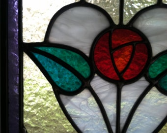 Stained Glass Panel Edwardian Rose