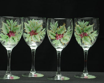 Hand Painted Wine Glass Set / Holly And Berry Spray / Matched Set Of Four
