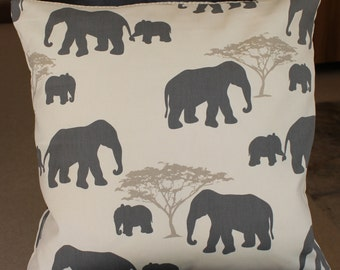 """Elephant pillow cover 18"""", grey, taupe, ivory, elephant cushion cover"""