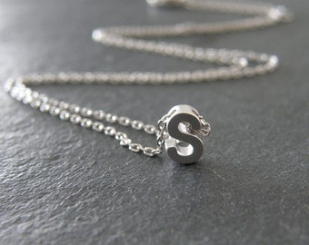 Silver Initial Letter S Necklace, Personalized Necklace, Initial Necklace, Simple, Modern, Everyday