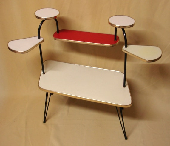 Plantstand 6 Levels, Parallelogram, Hair Pin legs, cream red, 50s Retro Mid Century  Space Age Germany