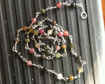 Multicolored Tourmaline Necklace Silver Wire-Wrapped