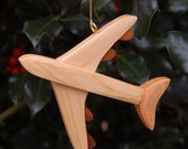 AIRPLANE CHRISTMAS ORNAMENT Carving.  Makes a great stocking stuffer for the seasoned traveler.