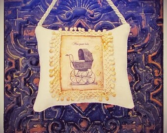 Baby Gift...Mon Petit babe.....New Baby ...baby shower gift . Decorative  Scented  Hanging  Door  Pillow, christening gift,baptism gift