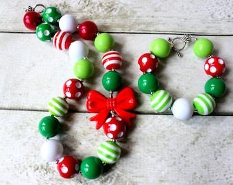 christmas chunky necklace and bracelet set bubblegum bead necklace matching bracelet set red amd green rhinestone necklace princess birthday