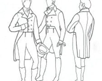 RH201- 1795-1820 Men's Tailcoat Sewing Pattern by Rocking Horse Farm