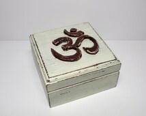 Distressed Wooden Box- Ohm Symbol - Yoga box - Jewelry Box -Ivory &Brown