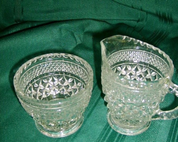 Crystal Depression Glass Anchor Hocking Wexford pattern Open Sugar & Creamer Serving set