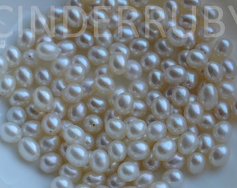 White Rice Freshwater Pearls,Half Drilled White Fresh Water Pearls,Cultured Pearls,6-6.5 mm,Luxe AAA,10 Pcs,June Birthstone
