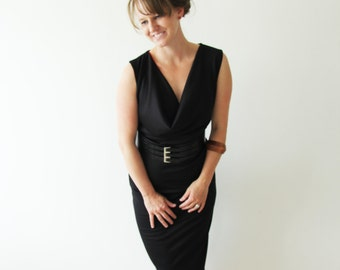 Fitted black pencil dress, black midi dress, halter dress, sleeveless black dress, black dress , lbd , little black dress