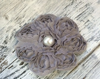 Gray Lace Flower Hair Clip with a Pearl
