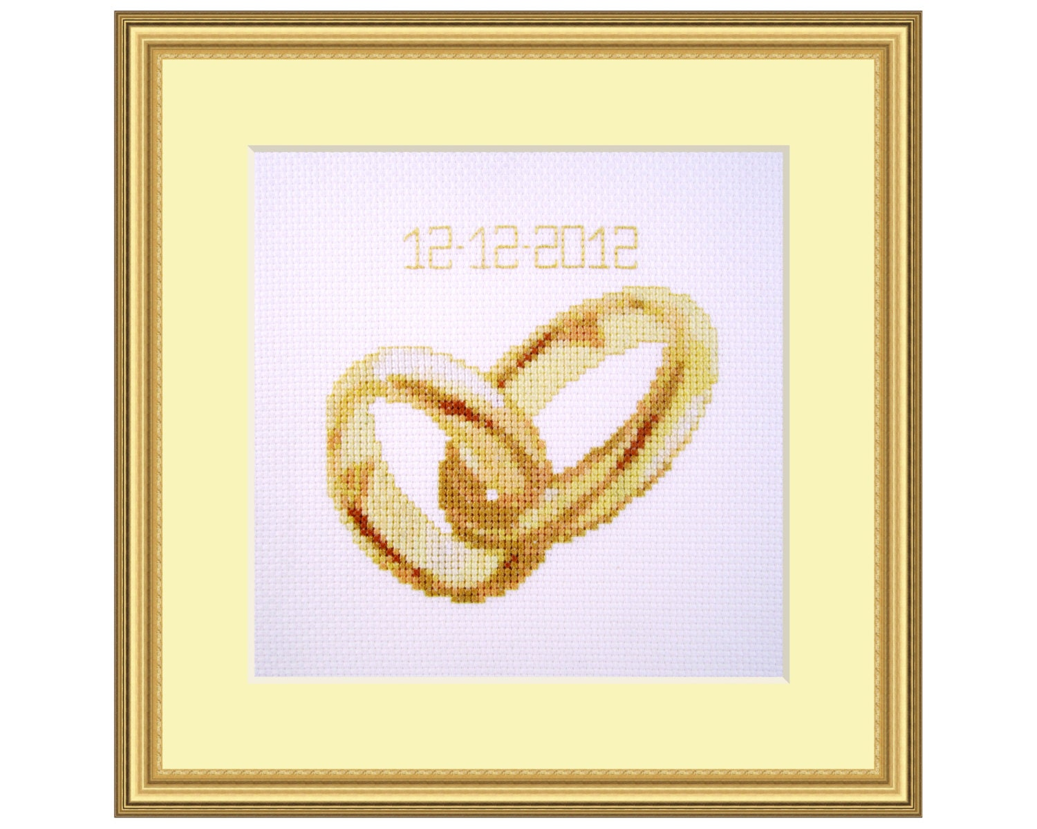 Wedding rings cross stitch kit marriage diy gift small
