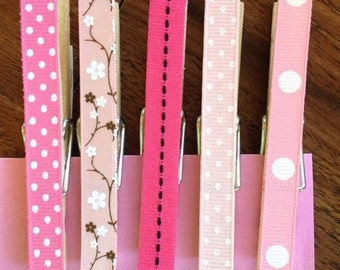 Decorative Pink Clothespins with or without magnets