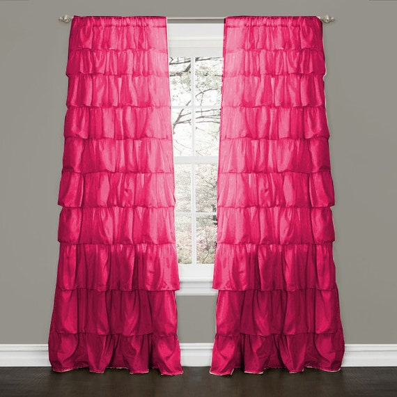 hot pink ruffle curtains home design 2017