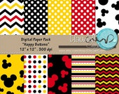 "Happy Buttons Inspired Digital Paper Pack (12) - 12""x12"" 300 DPI"